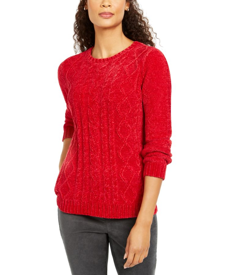 Karen Scott Petite Chenille Cable-Knit Sweater, Created For Macy's - Haute R...