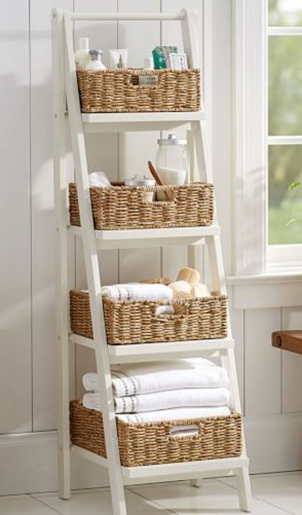 Ladder floor storage with baskets #cabbin #conductor floor storage