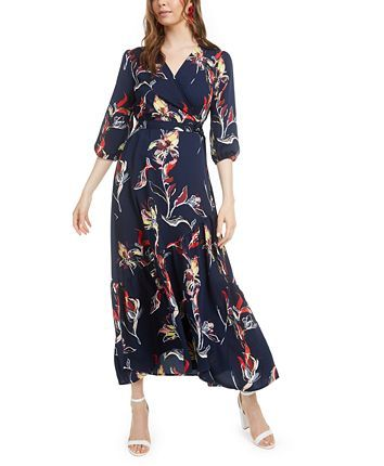 Bar III Floral-Print Wrap Maxi Dress, Created for Macy's & Reviews - Dresses...