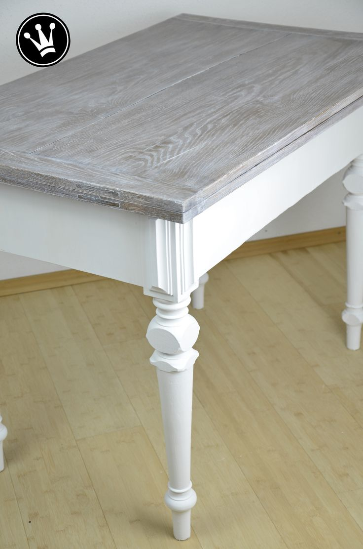 DIY - paint table with chalk paint, table top with white-wash method la ...
