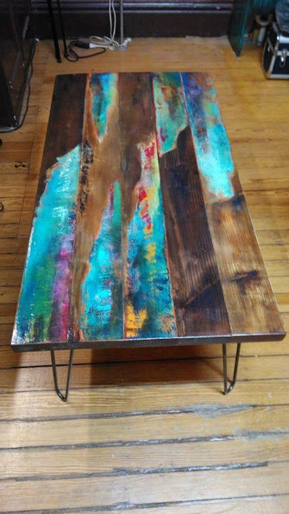 painted coffee table. Abstract art on distressed wood. Industrial ear legs ...