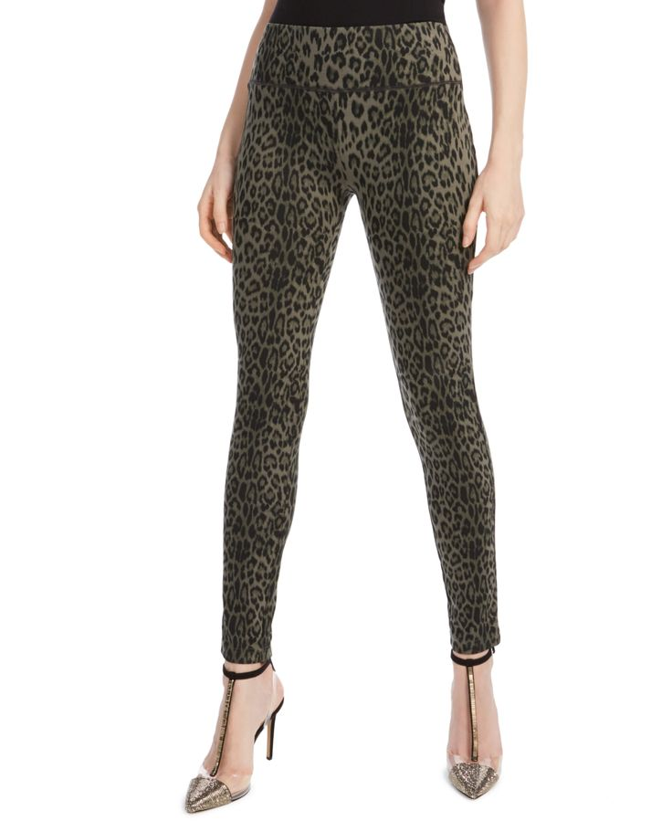 I.n.c. Animal-Print Skinny Pants, Created for Macy's - Olive Drab