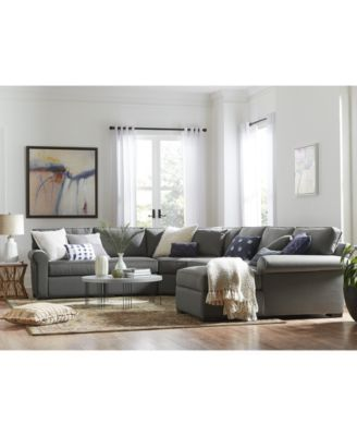 """Astra 5-Pc. """"L"""" Shaped Fabric Sectional, Created for Macy's $1,759.00 Gently..."""