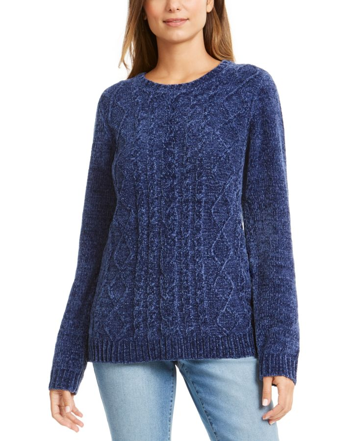 Karen Scott Petite Chenille Cable-Knit Sweater, Created For Macy's - Estate ...