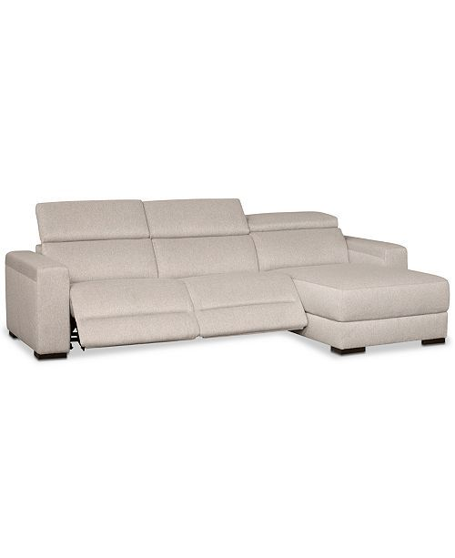 Furniture Nevio 3-Pc. Fabric Sectional Sofa with Chaise, 2 Power Recliners and A...