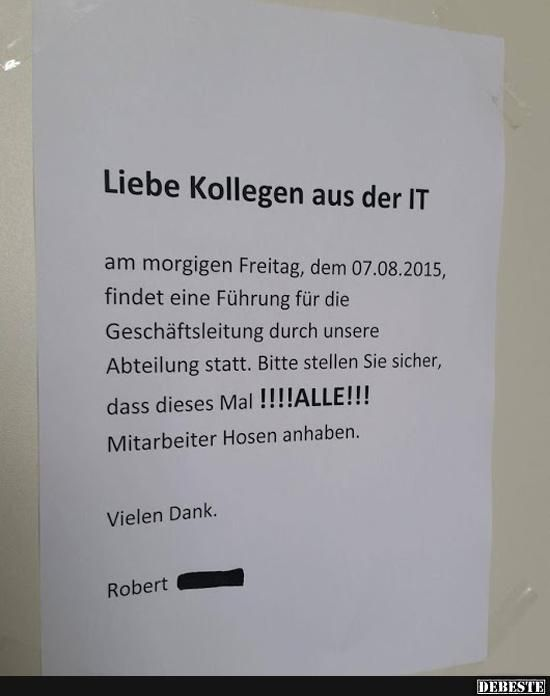 Dear colleagues from the IT .. | Funny pictures, sayings, jokes, really funny