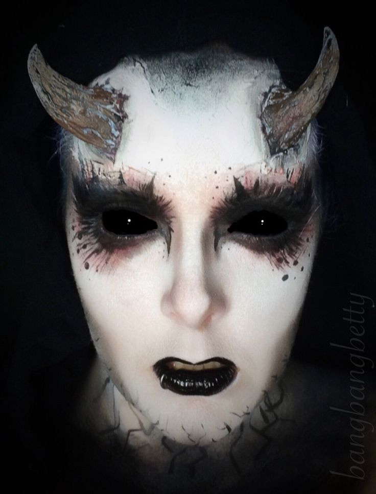 Halloween demon makeup! Halloween, creepy makeup, makeup art, black lips, hallow...