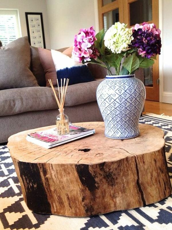 solid wood coffee table tree trunk flower decoration