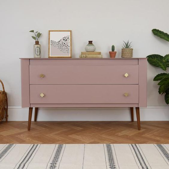 Pouting space pink by Farrow and Ball on a mid-century mod ...