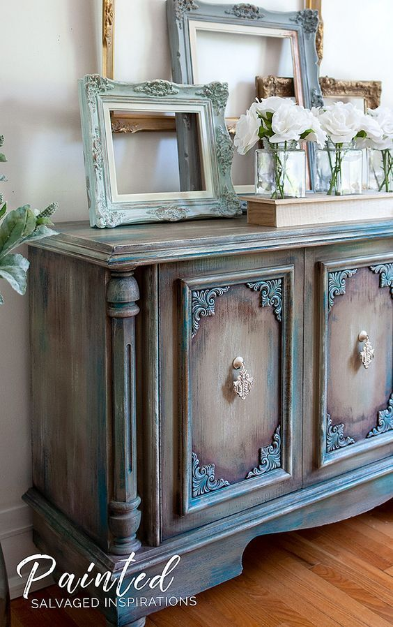 Paint Furniture with Pink Wax - Buffet Makeover (tinted wax with color, which can be used on ...