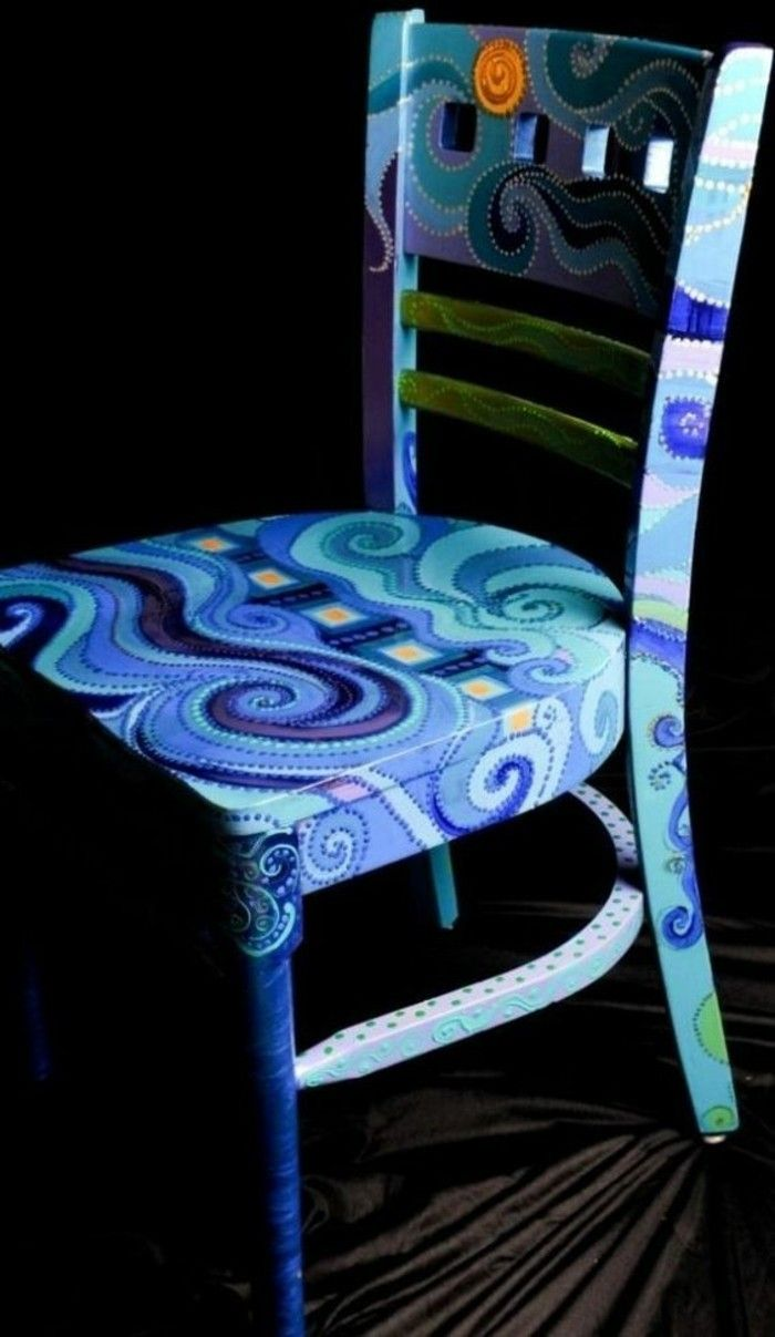 Wooden Chair Old Blue Chair Painted DIY Art Furniture Restore
