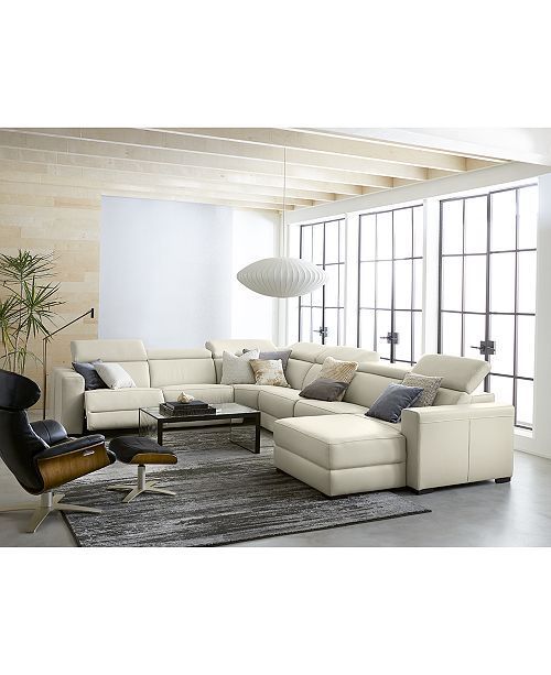 """Furniture Nevio 5-pc Leather """"L"""" Shaped Sectional Sofa with 3 Power Recliners an..."""