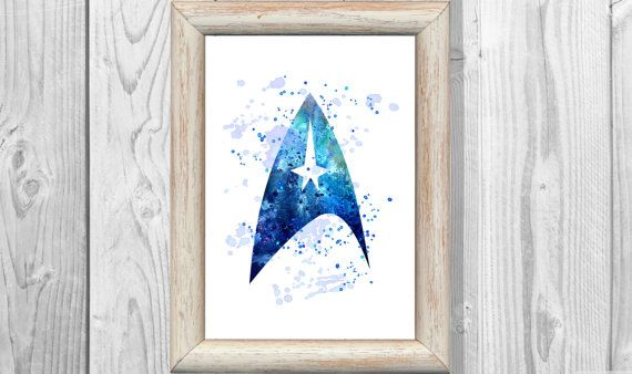 Star Trek Poster Watercolor Space Print   Wall Illustrations Art Print  Wall Dec...