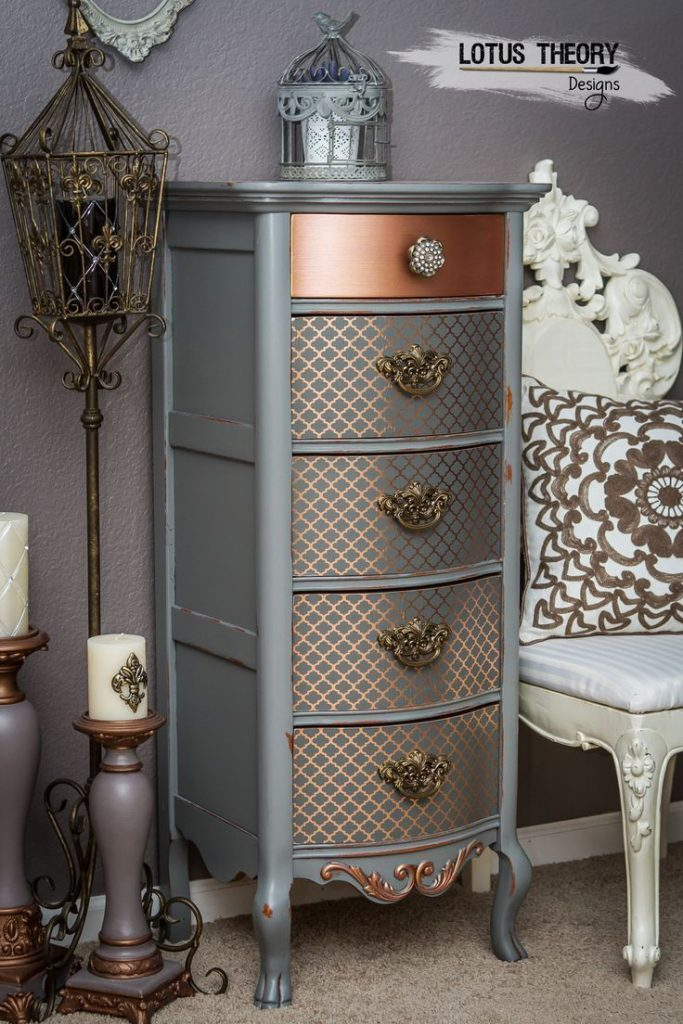 ©️️ Lotus Theory Designs Lexington lingerie chest painted in gray with rose...
