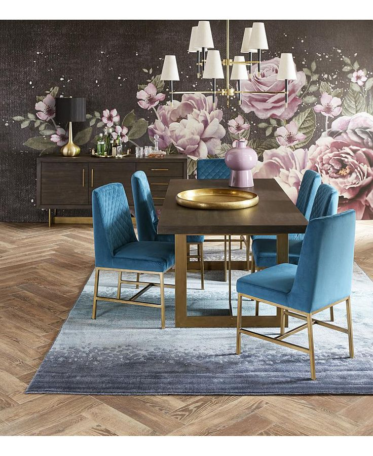 Cambridge Dining Furniture, 7-Pc. Set (Dining Table & 6 Teal Side Chairs), Creat...