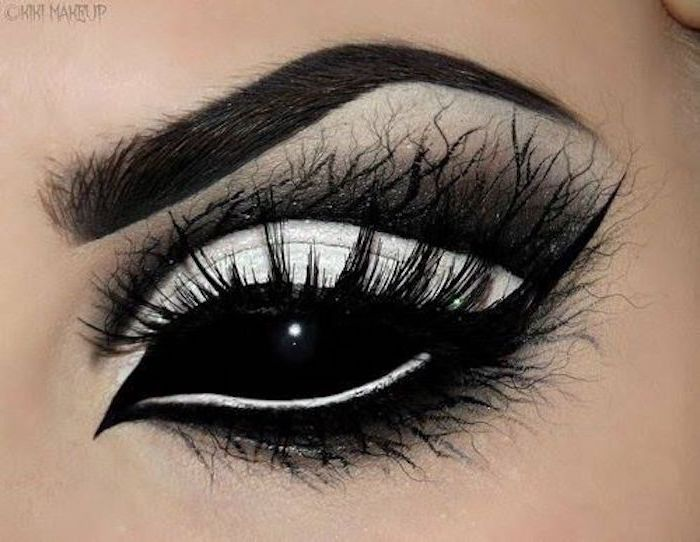 black full-shell contact lens, black and white Halloween make-up