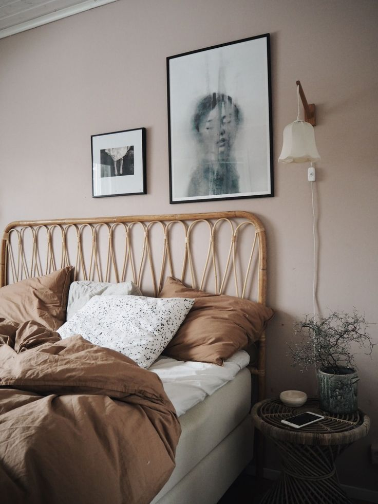 Bedroom in pink brown and white A mix of modern bohemian and ...