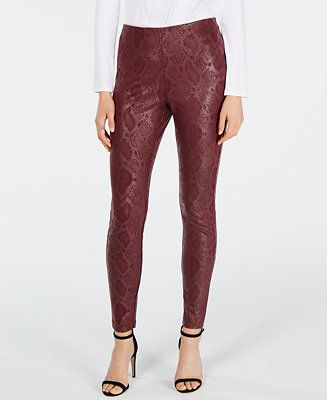 INC International Concepts I.N.C. Snake-Print Skinny Pants, Created for Macy&#39...