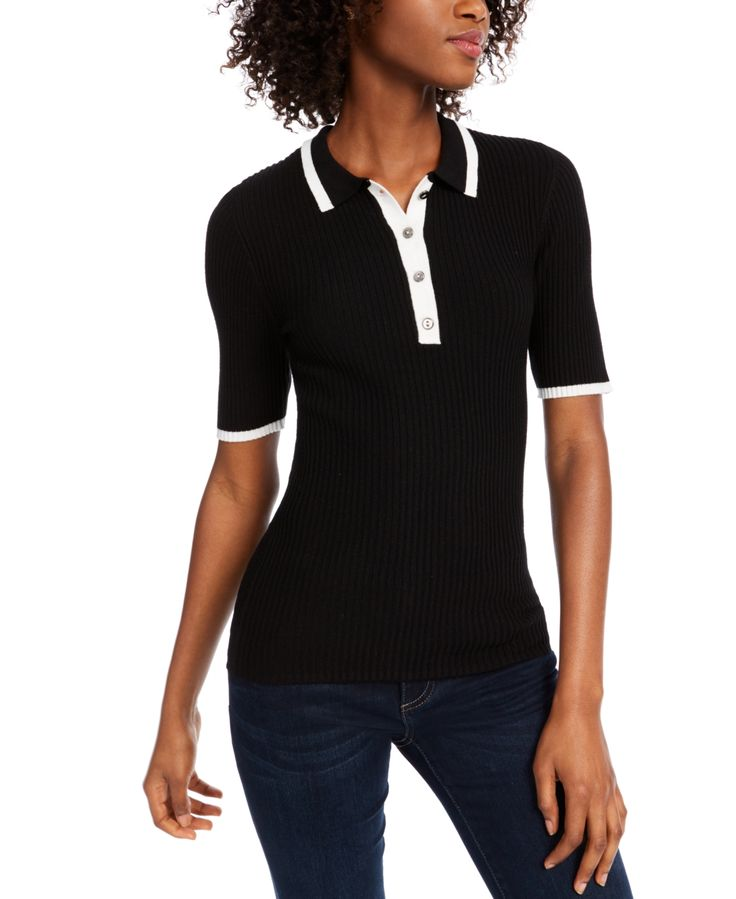 Maison Jules Ribbed Contrast Polo Sweater, Created for Macy's -