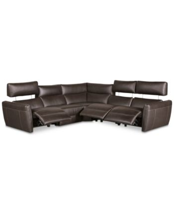 Fanna 5-Pc. Leather Sectional with 3 Power Recliners and Articulating Headrest, ...