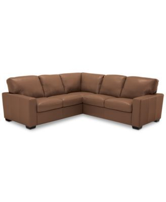 """Ennia 2-Pc. Leather """"L""""-Shaped Sectional Sofa, Created for Macy's"""