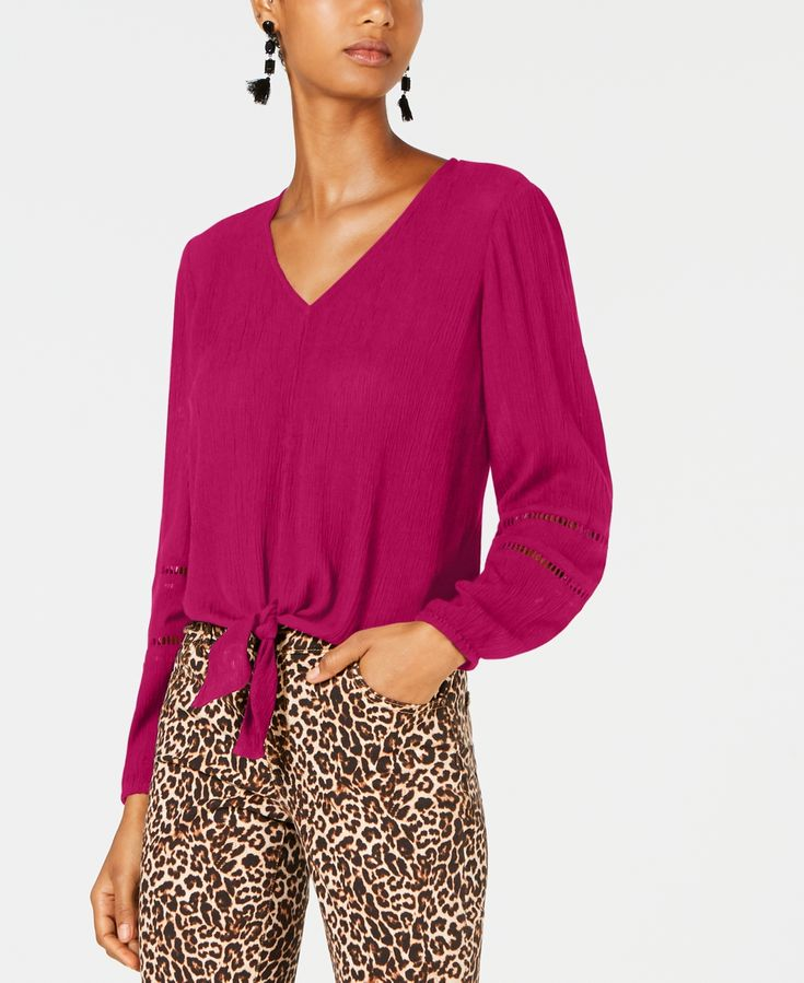 I.n.c. Gauze Tie-Front Top, Created for Macy's -