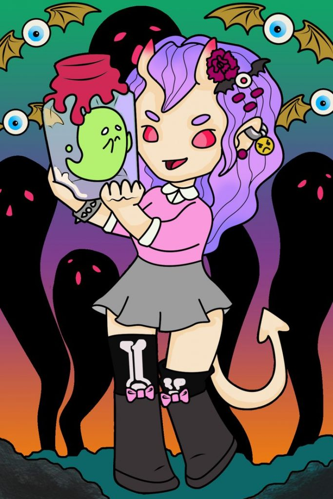 Drawlloween day 2: demon. She may be cute, but she still enjoys harassing the so...