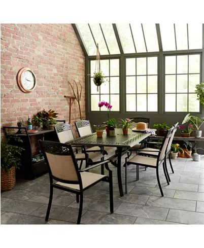 """Furniture Outdoor Cast Aluminum 7-Pc. Dining Set (68"""" X 39"""" Dining Table And 6 S..."""