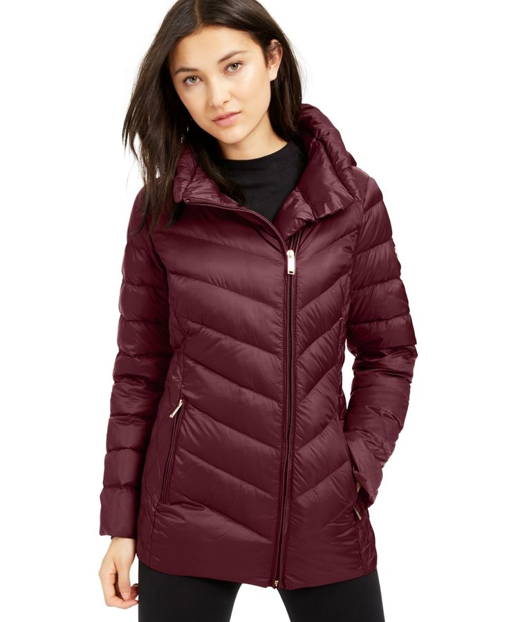 Michael Michael Kors Asymmetrical Hooded Packable Down Puffer Coat, Created for ...