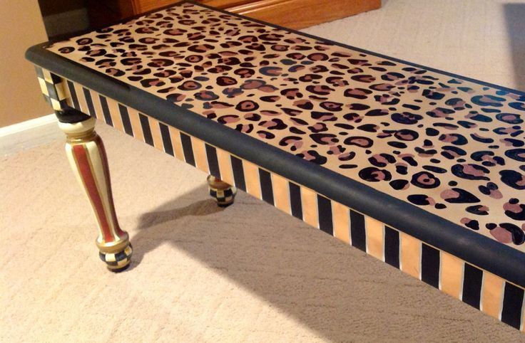 Leopard hand painted farmers bench custom by paintingbymichele, $375.00