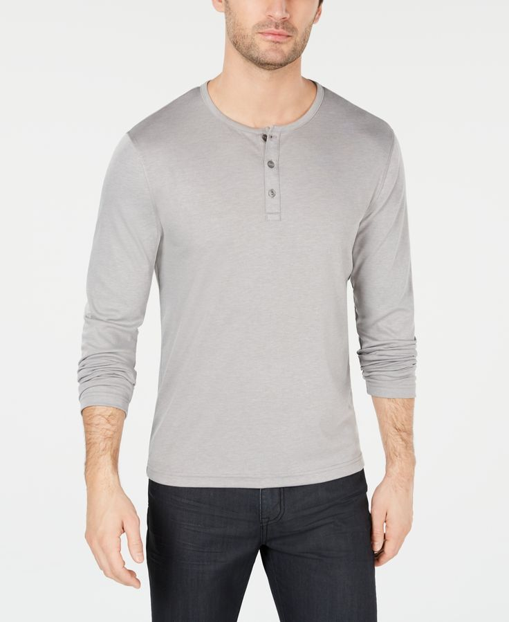 Alfani Men's Soft Touch Stretch Henley, Created for Macy's -