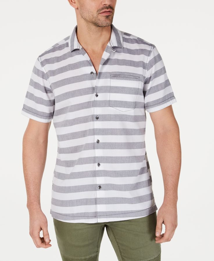 I.n.c. Men's Striped Camp Shirt, Created for Macy's - Iron Gate