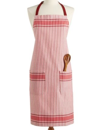 Martha Stewart Collection Jacquard Striped Apron, Created for Macy's - Red