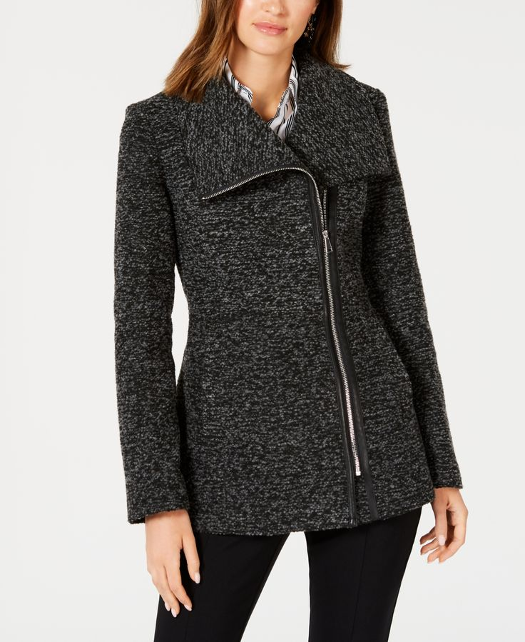 I.n.c. Asymmetrical Faux-Leather-Trim Coat, Created for Macy's - Charcoal