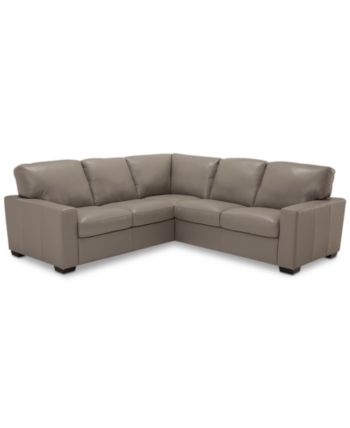 Ennia 2-Pc. Leather Sectional Sofa, Created for Macy's - Pewter (Special Ord...
