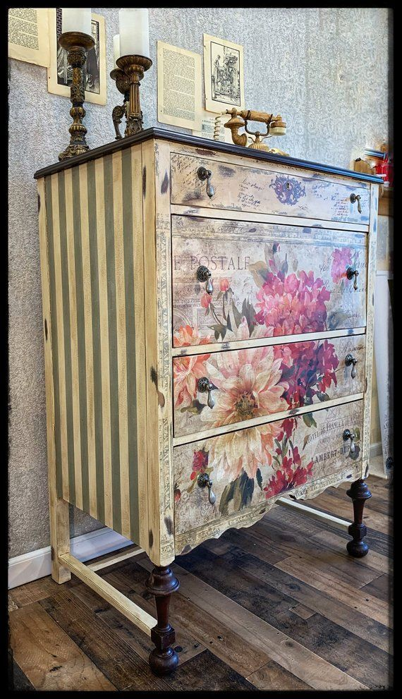 Hand-painted antique flower chest of drawers Etsy, # antique # flower chest #hand painted