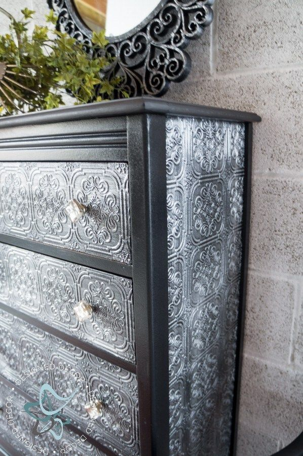 """This decoupage wallpaper dresser is small but she is """"Oh, So Classy!"""" I am good ..."""