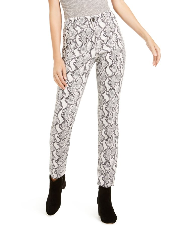 I.n.c. INCEssential Snake-Print Skinny Jeans, Created For Macy's - Grey Scal...