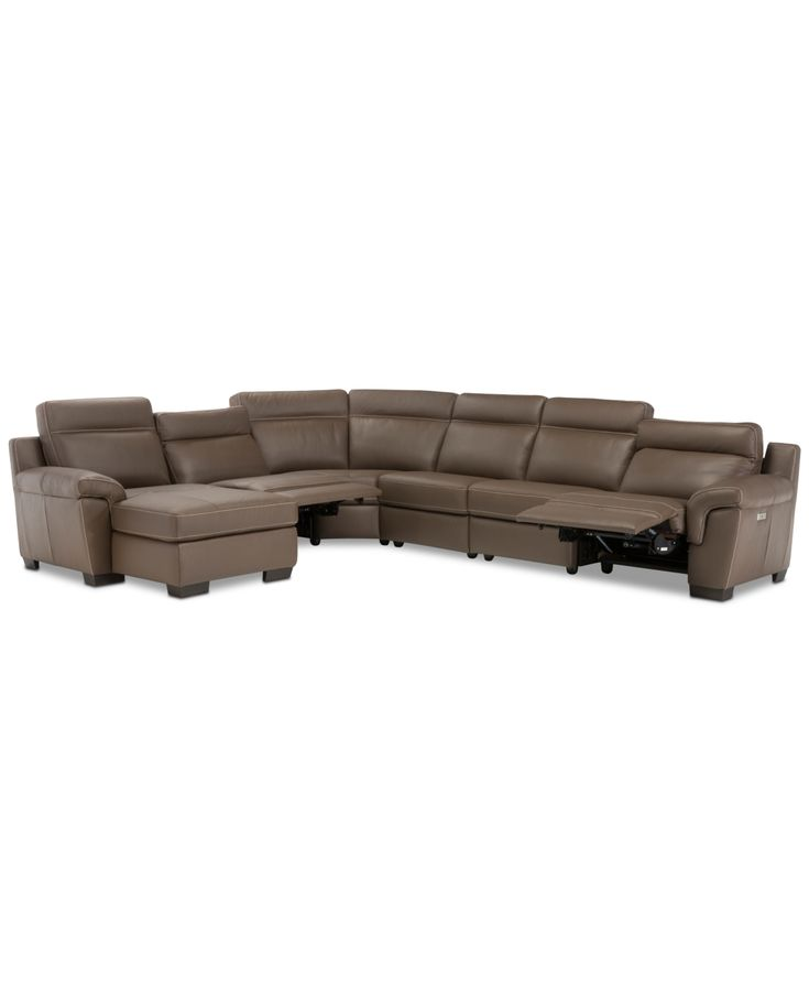 Julius Ii 6-Pc. Leather Chaise Sectional Sofa With 2 Power Recliners, Power Head...