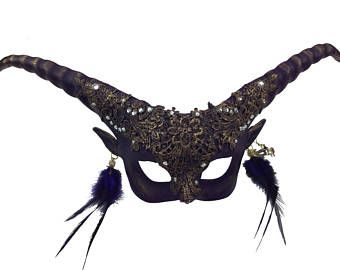 Halloween Demon Devil Long Horned Horns Antlers Mask Scary Feathers Mask for Her