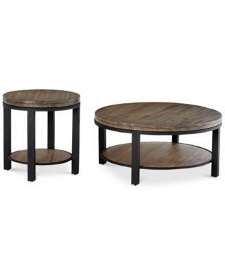 Canyon Round Table Set, 2-Pc. Set (Coffee Table & End Table), Created for Macy&#...