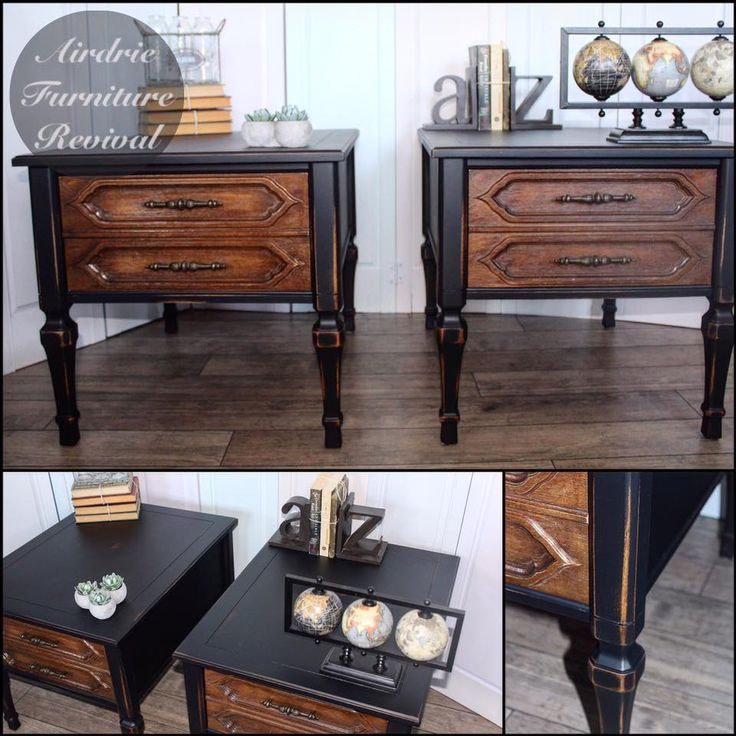 Here is another lovely set of nightstands! Painted in Lamp Black Milk Paint and ...