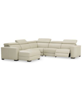 Nevio 5-pc Leather Sectional Sofa with Chaise, 2 Power Recliners and Articulatin...