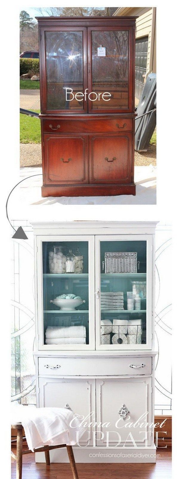 Thrift Store China Cabinet Makeover. Give your old cabinet a new shabby chic loo...