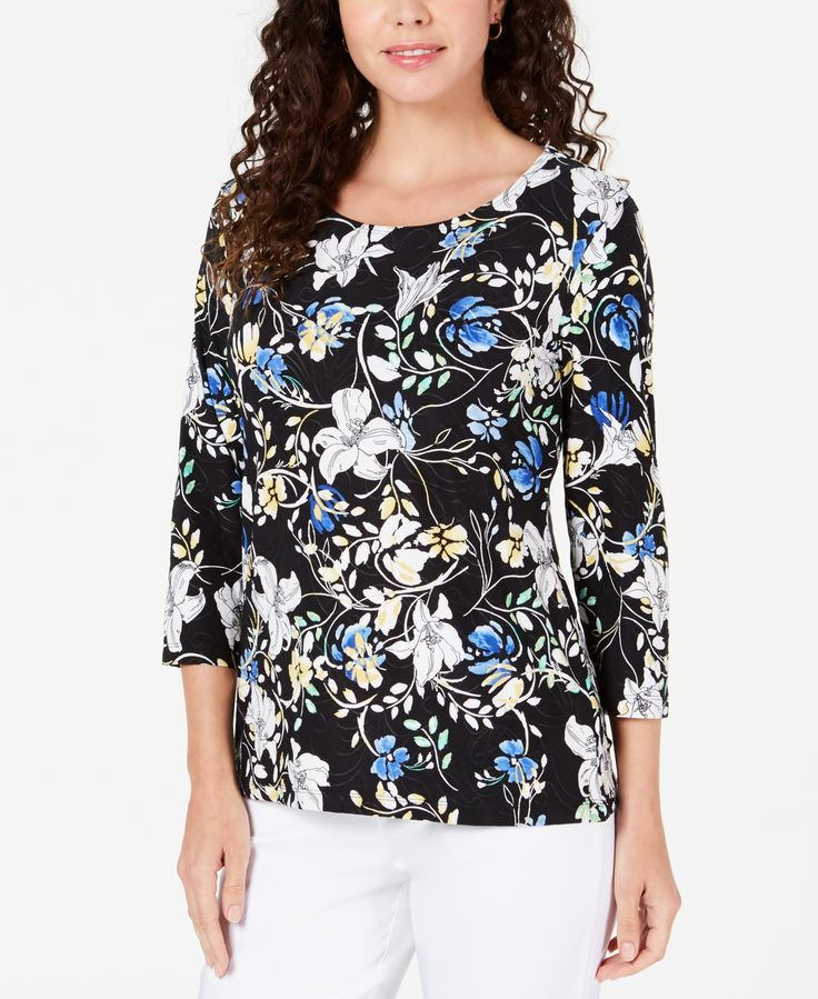 Jm Collection 3/4-Sleeve Printed Jacquard Top, Created for Macy's -