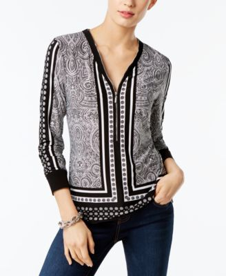 LOVE the hardware/color on this: I.N.C. Printed Zip-Up Top, Created for Macy's |...