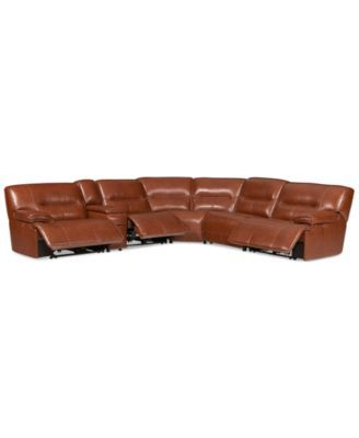 CLOSEOUT! Beckett 6-pc Leather Sectional Sofa with Console and 3 Power Recliners...
