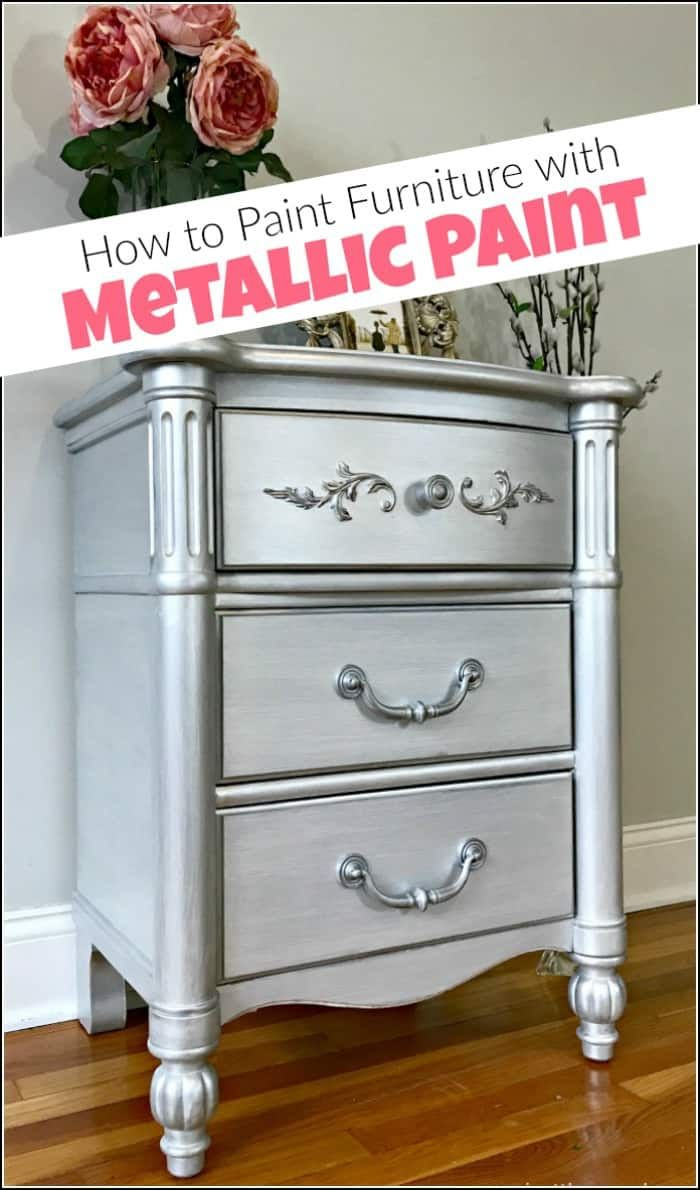 Silvermetallic paint and glam seem to go hand in hand. Give your painted furni...