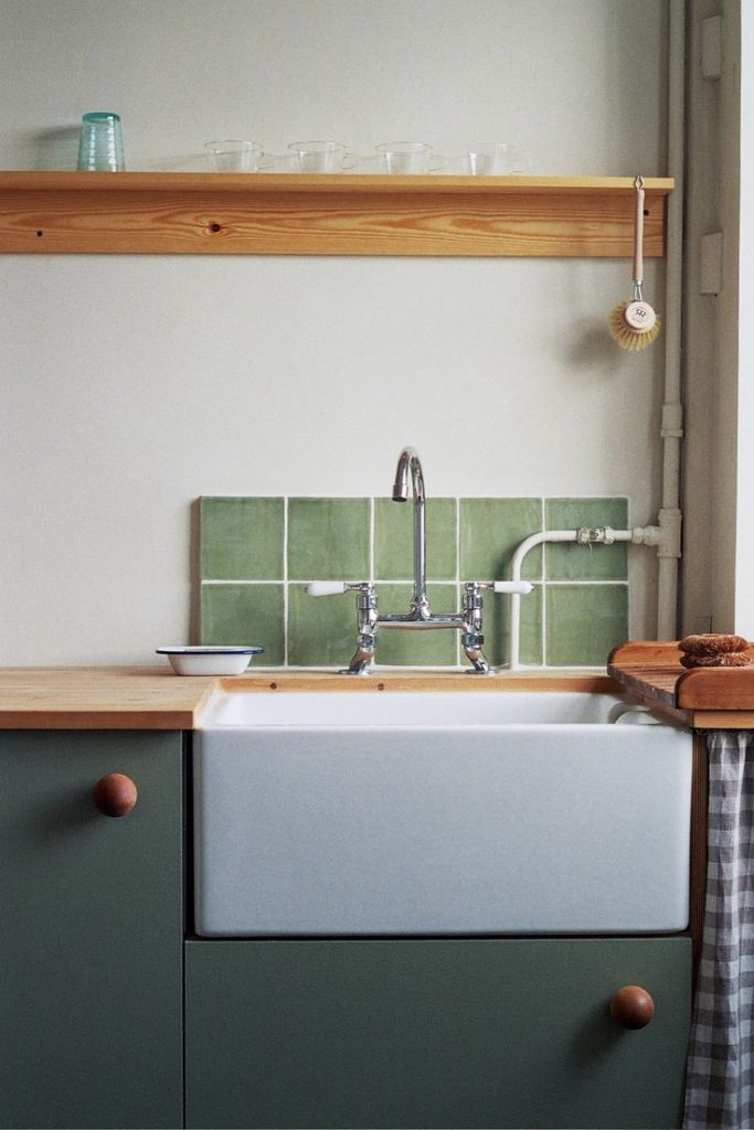 A traditional butler sink and faucet sourced from a company in the north of Engl...