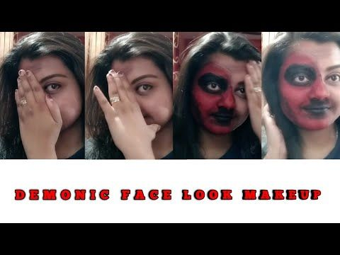 HALLOWEEN DEMONIC LOOK || HALF HALLOWEEN FACE DEMONIC BY APARNA KARN - YouTube